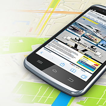 Smartphone on digital map