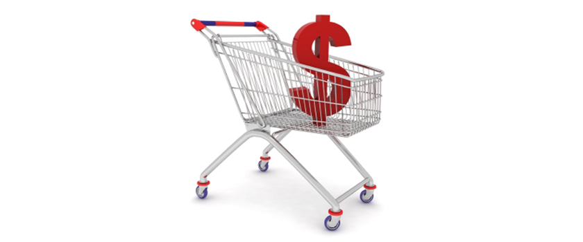 Shopping cart with money in it.