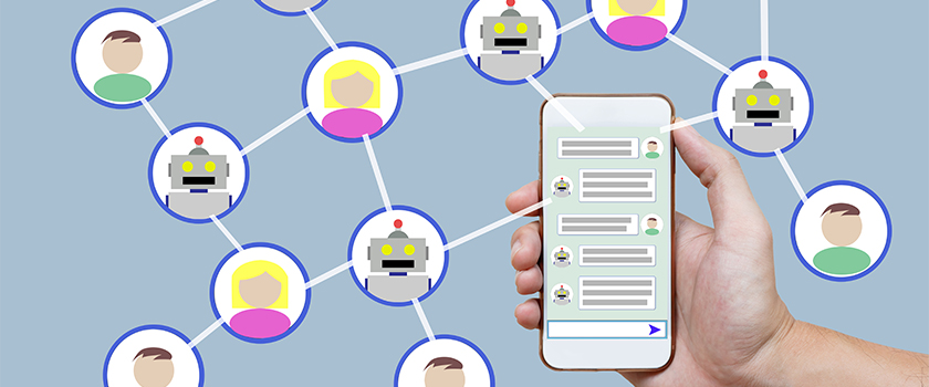 Communication between people networking on mobile phones.