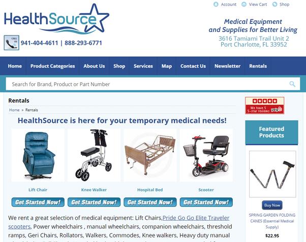 Image of Rentals website