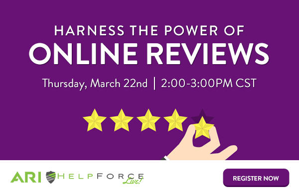 Harness the Power of Online Reviews graphic with a hand adding 5 stars to a review.